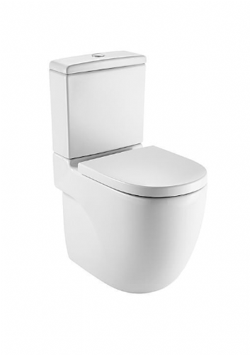 Roca Meridian-N Close To Wall Toilet With Push Button Cistern - Soft Close Seat - White